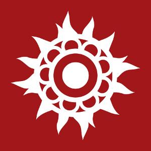 Motif décoratif indien, fleur aux pétales enflammés.