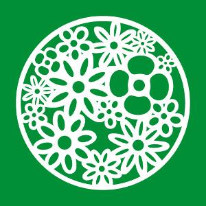 Bouquet de fleurs stylisé composé en cercle avec pétales en découpes.