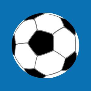 Design Football à imprimer sur t-shirt. Ballon simple dessiné en aplats et lignes de trois couleurs personnalisables.