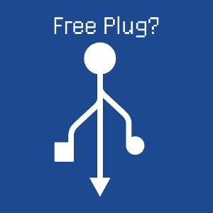 Free plug free hug, calembour geek et symbole usb.