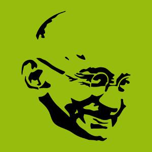 Gandhi, portrait du grand homme, un design Histoire et Inde.