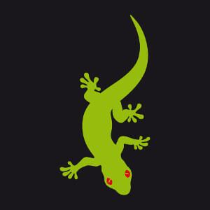 Gecko au corps qui ondule. Design deux couleurs de gecko à personnaliser.
