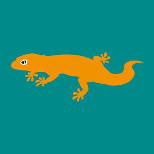 Petit gecko rigolo à rayures, design 3 couleurs à personnaliser en ligne.