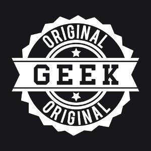 Geek original, design vintage en forme de tampon crénelé.