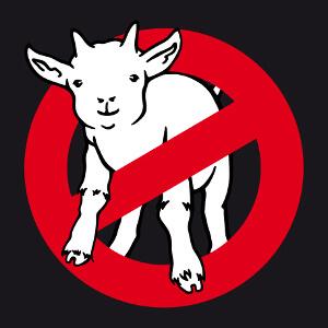 Créez votre t-shirt goatbusters, blague geek en référence au logo du film ghostbusters.