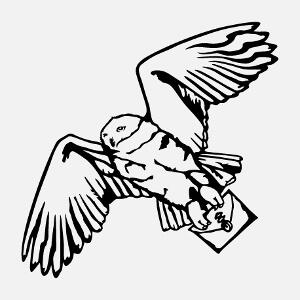 Hedwige, chouette blanche stylisée poirtant une lettre de Hogwarts, un design livres et littérature.