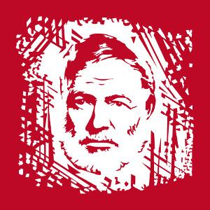 Hemingway, portrait à personnaliser, dessiné d'après photo.