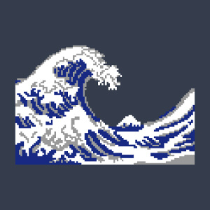 La vague d'Hokusai dessinée en pixels 3 couleurs.