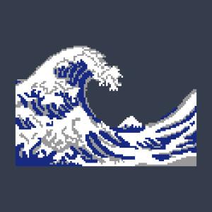 La vague d'Hokusai dessinée en pixels 3 couleurs.