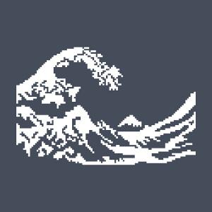 La vague d'Hokusai en pixel art, motif une couleur stylisé.