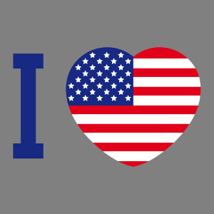 I love USA, cœur décoré avec un design drapeau américain.