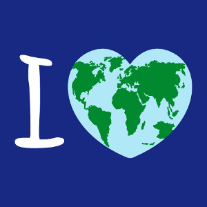 Coeur rebondi orné d'une carte du monde, un design Nature et Ecologie.