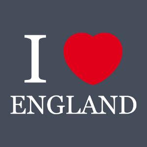 I love England, cœur rond et texte en typo Times.