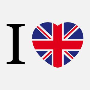 J'aime l'Angleterre, cœur aux couleurs du drapeau anglais. Un design UK