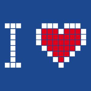 I love geek, I love pixels, cœur composé de gros pixels séparés par des espaces fins.