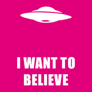 Ovni stylisé et affiche X files I want to believe, design à personnaliser.