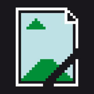 Image not found, icône d'image manquante en pixels, un design geek et développeur.