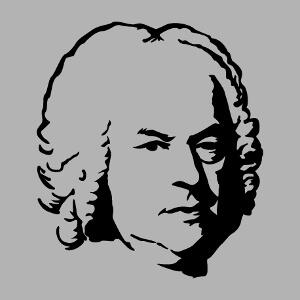 Imprimez un t-shirt musique et humour personnalisé avec ce portrait de Bach stylisé d'après tableau.