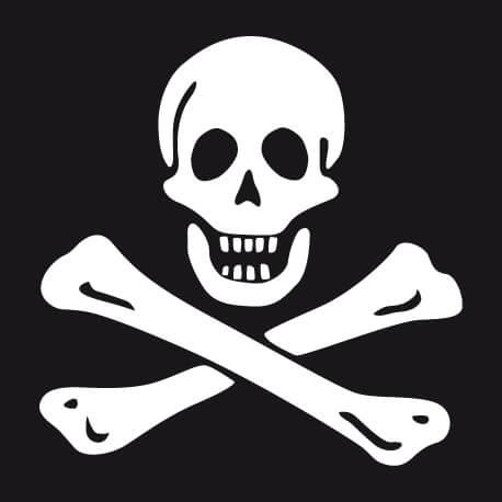 Emblème drapeau pirate classique à personnaliser, un design Jolly Roger à imprimer en blanc sur noir.