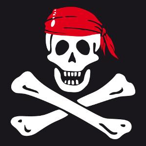 Tête de mort pirate à os croisés, design historique jolly roger.