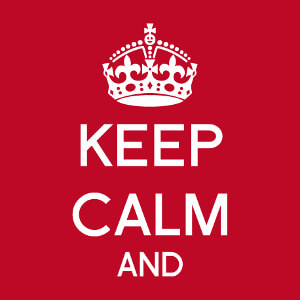 Keep calm personnalisé, un design Geek et humour avec couronne royale et début du texte à compléter avec votre blague.
