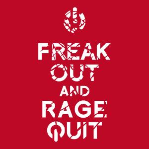 Créez un tee shirt keep calm geek original avec ce design Freak Out and rage quit surmonté d'un bouton on off.