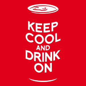 Keep cool and drink on, design pour impression t-shirt et accessoire, avec canette de bière et parodie Keep Calm.