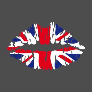 I love UK, kiss drapeau anglais, design 3 couleurs Union Jack et bouche stylisée personnalisée.