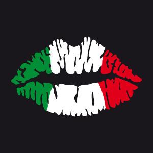Drapeau italien peint sur une bouche stylisée, spécial impression sur t-shirt de supporter.