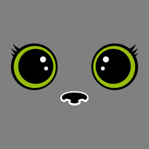 Yeux de chat en style manga à grosses pupilles rondes et cils stylisés, un design chats et animaux.