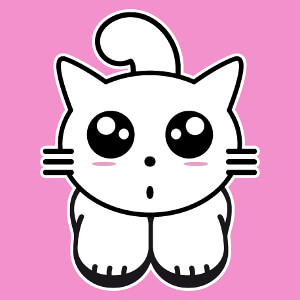 Kitty cat kawaii, design chaton mignon trois couleurs