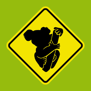 Panneau routier à personnaliser et imprimer, présentant un koala mignon.