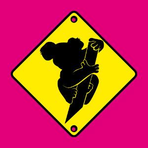 Panneau koala rigolo à imprimer en ligne.