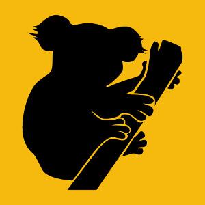 T-shirt Koala stylisé dessiné de profil en aplat et découpes graphiques à personnaliser soi-même.