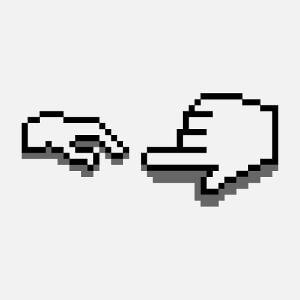 Michel Ange dessiné en pixels, un design pixel art et geek, avec curseurs en pixels.