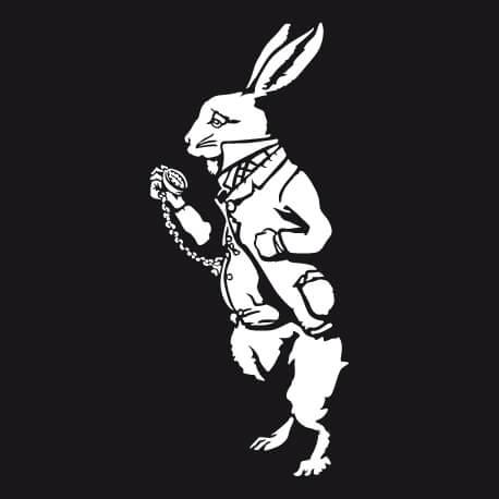 Lapin blanc de Lewis Carroll dessiné en format vectoriel personnalisable spécial impression blanc sur noir, un design lecture et littérature.