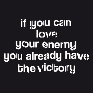 If you can love your enemy, citation de la couleur des sentiments, un design amour et Love.