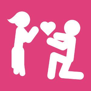 Accessoire Pictogramme amour et couple avec cœur simple à créer et personnaliser en ligne.