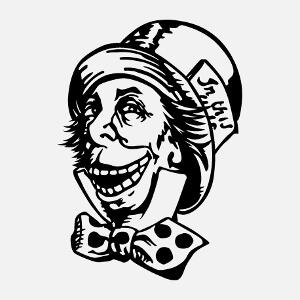Design geek, troll face et mad hatter mashup. U mad Hatter? Calembour geek une couleur personnalisé.