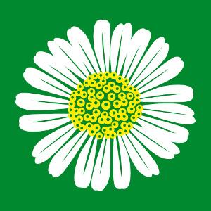 Marguerite, pâquerette, fleurette... design floral rond deux couleurs à personnaliser.