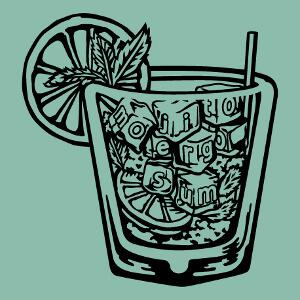 Mojito et verre à cocktail, un design alcool et apéro.