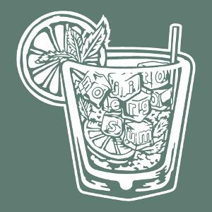 Tee-shirt Verre à cocktail Mojito et l'inscription Mojito ergo sum personnalisé.