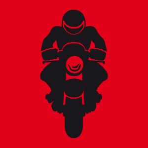 Motard portant un casque et dessiné de face, un design biker et moto.