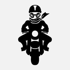 Motard stylisé dssiné en aplat uni et découpes, un design moto.