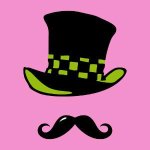 Design personnalisable de chapeau haut de forme et moustache bouclée.