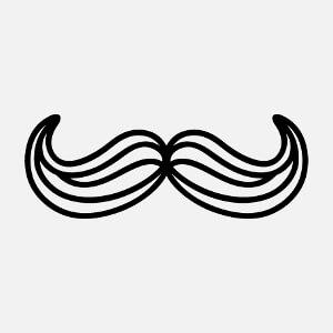 Imprimer un t-shirt moustache avec ce motif dessiné en traits épais et zones transparentes.