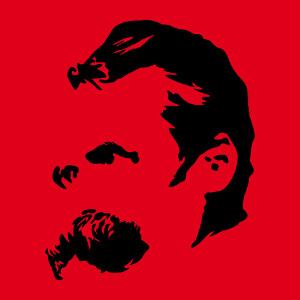 Portrait de Nietzsche dessiné de 3 quarts, un design Philosphe et écrivain.