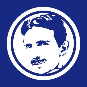Cadeau Portrait de Nikola Tesla spécial impression sur fond sombre à designer en ligne.