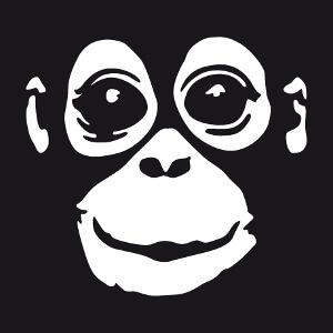 Singe stylisé à personnaliser et imprimer sur t-shirt sombre.