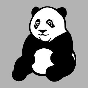 Panda noir et blanc dessiné avec des aplats et des contours épais. Un design Kawaii et animaux sauvages à personnaliser en ligne.